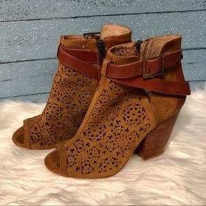 Vince Camuto laser cut leather Booties